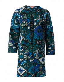 Mencia Blue, Green, and White Mosaic Pattern Jacket