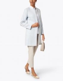 Helene Berman - Alice Sky Blue and White Jacquard Long Jacket