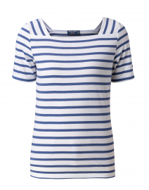 Pleneuf White and Voyage Blue Striped Cotton Top