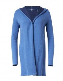 St. Maarten Blue Stretch Cotton Hooded Cardigan