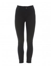 Quinley Black Tech Stretch Jeans with Leather Piping