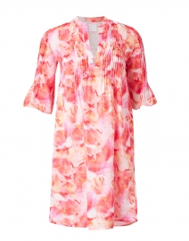 Orange Flower Printed Linen Dress