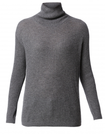 Grey Heather Waffle Stitch Cashmere Sweater