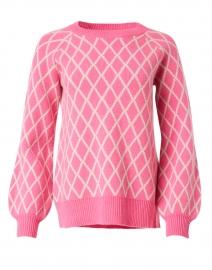 Azalea Pink Merino Wool Diamond Pattern Sweater