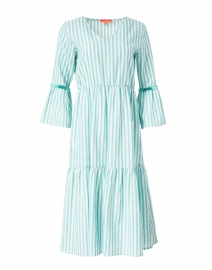 Tyne Green and White Striped Lurex Cotton Dress