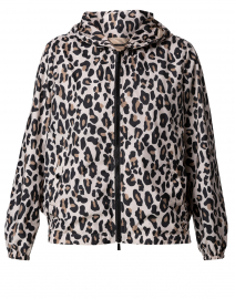 Beige Leopard Printed Raincoat with Hood