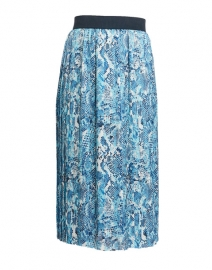 Blue and White Snakeskin Printed Pleated Skirt