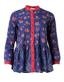 Chanderi Navy and Red Floral Cotton Top