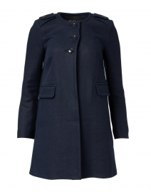 Martina Navy Linen Long Jacket