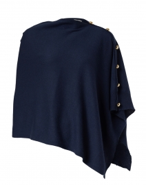 Navy Cashmere Ruana with Gold Button Detail