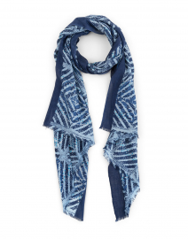 Navy Tile Printed Silk and Cashmere Scarf
