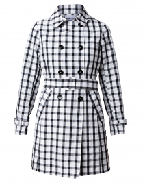 Black and White Plaid Print Trench Coat
