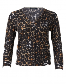 Charlotte Camel Leopard Silk Cashmere Cardigan