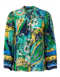 Brodie Green and Gold Paisley Print Silk Blouse