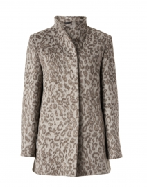 Taupe Leopard Print High Collar Coat