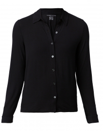 Black Stretch Viscose Button Down Shirt