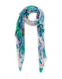 Sinsen Blue and Green Floral Modal and Silk Scarf