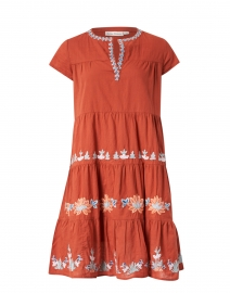 Pamela Ginger Spice Embroidered Cotton Dress