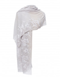 Pale Blue Grey  Floral Embroidered Merino Wool Scarf