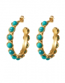 Mini Turquoise Stoned Hoop Earrings