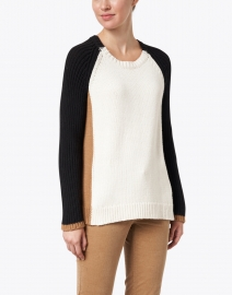 Lisa Todd - Triple Ivory, Camel and Black Cotton Sweater