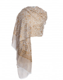 White and Gold Metallic Printed Silk Scarf