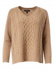 Vik Camel Wool Cable Knit Sweater