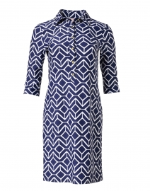 Susanna Navy and White Geometric Printed Henley Dress