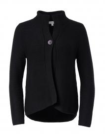 Black Garter Stitch Cotton Cardigan