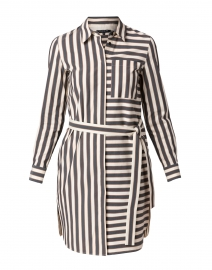 Isra Black and White Cotton Shirt Dress