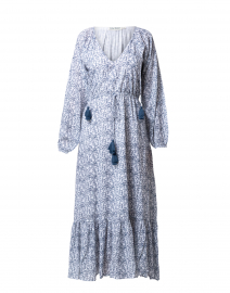 Olaya White and Navy Printed Maxi Dress
