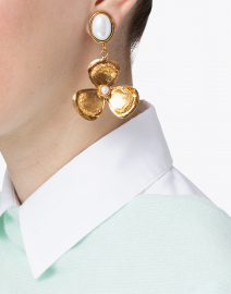 Sylvia Toledano - Lucky Flower Pearl and Gold Drop Earring