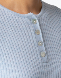 Blue - Faded Chambray Ribbed Cotton Top