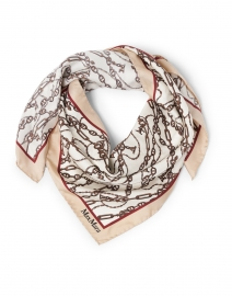 Pappino Beige and White Chain Link Silk Square Scarf
