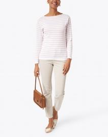 Blue - White and Oleander Pink Fine Stripe Boatneck Sweater