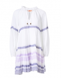 White and Violet Striped Cotton Voile Dress