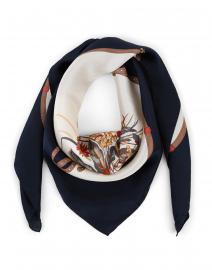 Birba Navy Floral Silk Scarf