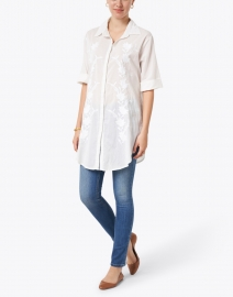 Ro's Garden - Federica White Embroidered Cotton Tunic