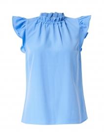 Marina Blue Poly Crepe Ruffle Top