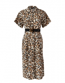 Brown and Black Animal Print Cotton Shirt Dress