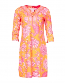 Orange and Pink Floral Printed Jersey Dress