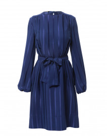 Lapis Blue Silk Stripe Jacquard Dress