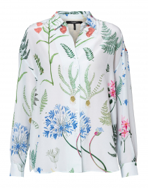 Venas Light Blue Flower Printed Silk Blouse