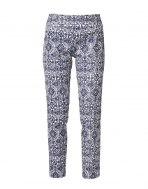 Navy and White Mosaic Print Crinkle Control Stretch Pull-On Pant