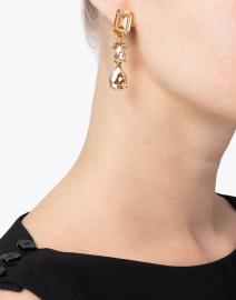 Oscar de la Renta - Gold Shadow Crystal Drop Clip Earrings