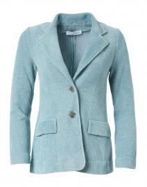 Voltaire Aquamarine Velvet Rib Knit Jacket