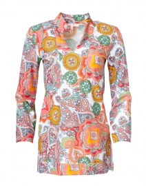 Chris Coral Captiva Paisley Printed Nylon Top