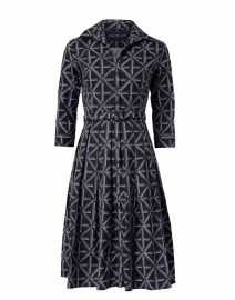 Audrey Indigo Four Check Printed Stretch Cotton Dress