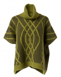 Green Oasis Cashmere Cable Poncho Sweater