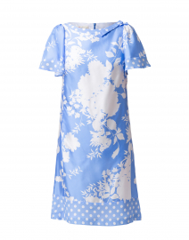 Blue and White Floral and Dot Printed Silk Dress